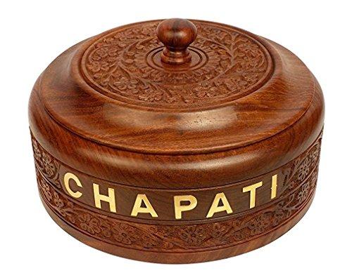 Stylla London fabriqué à la Main en Bois à Chapati Boîte avec Couvercle I à Pain Naan Boîte de Rangement avec Nœud en Acier à l'intérieur I Roti Box