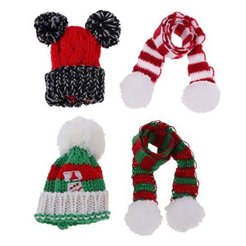 Baoblaze 2 Satz Puppe Weihnachten Mütze mit Strickschal Set Winter Outfit Zubehör Für 1/6 Monster High - Neue Monster High Kostüm