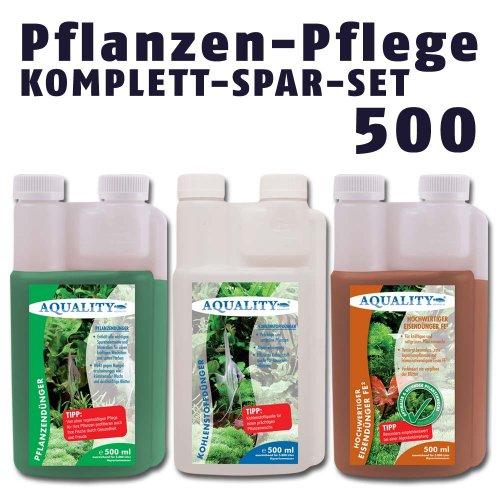 AQUALITY Pflanzen-Pflege KOMPLETT-SPAR-SET 500 (GRATIS Lieferung innerhalb Deutschlands - Perfekte Pflanzenpflege im Set: Pflanzendünger, Eisendünger, CO2 Kohlenstoffdünger für Ihre Aquarium-Pflanzen)