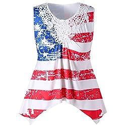 Clearance! Ladies Sleeveless Racerback Vest Blouse Kanpola Fashion Womens American Flag Printed Lace Insert V-Neck Tank Top T Shirt Tops by Kanpola