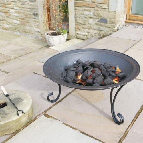 Trueshopping focolare da esterno giardino patio con copertura, diametro 68.5cm / in acciaio