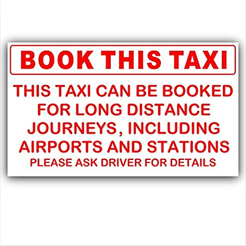 Book This Taxi-Red on White-Taxi,Minicab,Minibus Sticker-Airport,Station Bookings taken Information Vinyl