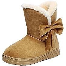 67a3b2149b807 Minetom Bottes De Neige Femme Bowtie Boots Avec Epais Fourrure Laine  Antidérapage Plat Talon Pour Hiver