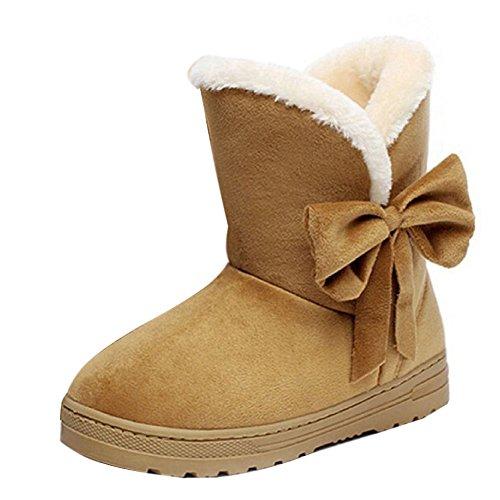 Minetom Frau Mädchen Damen Schlupfstiefel Mit Schleife Winterstiefel Warm Winter Boots Klassisch Schneestiefel Snow Shoes ( Braun EU 38 ) (Tall Winterstiefel Classic)