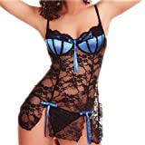 Negligees Damen, DoraMe Frauen Mode Spice Anzug Versuchung Unterwäsche Bogen Spitzen Pikant Dessous (M, Blau)