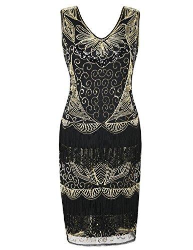kayamiya 1920er Jahre Plus Size Gatsby Kleider Pailletten Perlen Deco Homecoming Kostüm XXL Gold