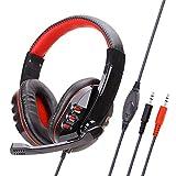 Gaming Headset Für Ps4, Komfortables Und Rauschreduzierendes Kristallklar 3.5Mm, Mit Mikrofon Für Xbox One Pc-Red Kopfhörer