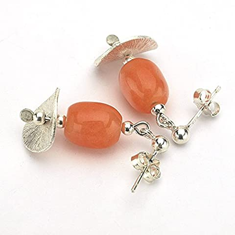 Orange Jade Gemstone earrings 2.5 cm (1.0 in) lenght finished