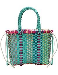 1a515b79b El bolso tejido a mano colorido de las mujeres, cesta trenzada del PVC del  verano