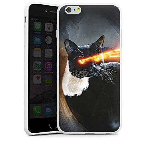 Apple iPhone X Silikon Hülle Case Schutzhülle Katze Laser Auge Silikon Case weiß
