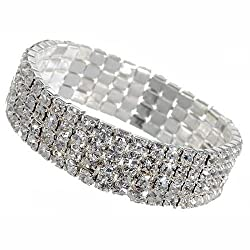 Sorella'z Imitation Diamond Stretch Bracelet for Girl's (Combo of four)