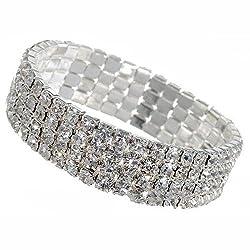 Sorella'z Imitation Diamond Stretch Bracelet for Girl's (Combo of four)