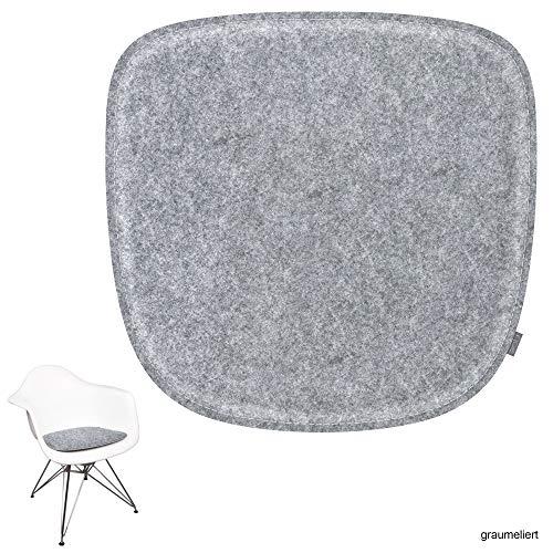 noe gepolstertes Eco Filz Sitzkissen geeignet für Vitra Eames Armchair - DAW,DAR,RAR,DAX,DAL,Rocker - 88 Varianten - optional mit Antirutsch (Oberseite - Graumeliert)