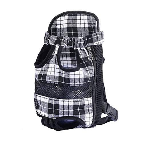 DDOOGG Haustierrucksack Plaid Dog Tasche Pet Carrier Mesh Breathable Chest Pack Hündchen Rucksack Reisen tragen Katze Hund Träger Taschen für kleine Hunde, schwarz, L (Mesh-plaid-rucksack)