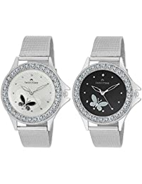Swisstone Analogue White & Black Dial Women's & Girl's Watch Combo - Cmb501-Wht-Blk
