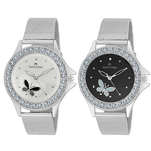 Swisstone-Analogue-White-Black-Dial-Womens-Girls-Watch-Combo-Cmb501-Wht-Blk