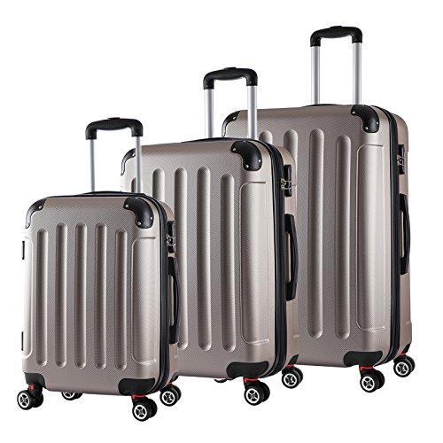 WOLTU RK4204ch, Reise Koffer Trolley Hartschale Volumen erweiterbar, Reisekoffer Hartschalenkoffer 4 Rollen, M/L/XL/Set, leicht und günstig, Champagne 3er Set (M+L+XL) (Trolley-set Erweiterbarer)