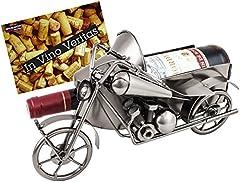 Idea Regalo - BRUBAKER bottiglia di vino titolare vintage motocicletta con sidecar nostalgia Oggetto Decorativo Metallo con biglietto d' auguri per vino regalo