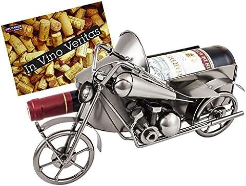 Brubaker Porte Bouteille de Vin Métal Vintage Moto avec side-car Nostalgie Objet de décoration avec carte de vœux pour vin