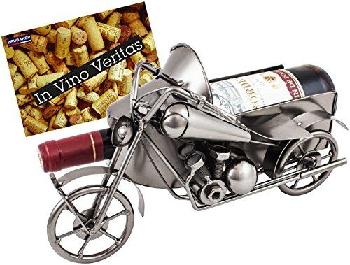 BRUBAKER Weinflaschenhalter Vintage Motorrad mit Beiwagen Nostalgie Deko-Objekt Metall mit Grußkarte für Weingeschenk