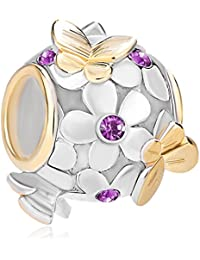 Pugster 925 Sterling Silver Crystal Birthstone Flower Golden Butterfly Charms Beads Fit Pandora Bracelet