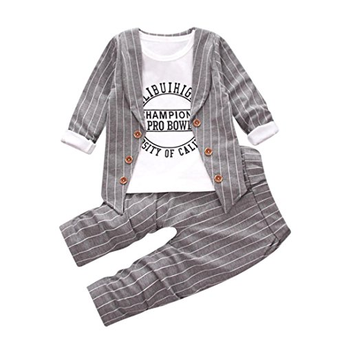 Top Coat Herren (0-3 Jahre alt Babys Outfits , Janly Champions Tops + Pants + Mantel Kinder Jungen Buchstaben gestreiften Kleidung Anzüge (2-3 Jahre alt, Grau))