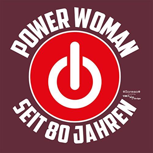 Geschenkidee für Frauen zum 80. Geburtstag Damen Tshirt Girlie als Geschenk für Sie Power Woman seit 80 Jahren für Powergirl �?Farbe: burgund Burgund