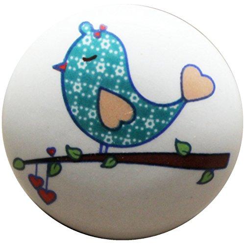 Möbelknöpfe Möbelgriffe Möbelknauf Möbelknopf Kinderzimmer Keramik Shabby Chic Antik Nostalgie Vintage Türgriff Knauf Griff Landhaus Küche Schublade Schubladengriff *Vogel Ast* B-WARE