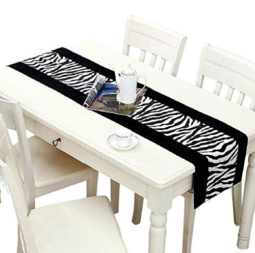 Preisvergleich Produktbild GY&H Europäischer Stil Plüsch Tisch Läufer Tisch, Couchtisch, Bett Zebra Muster Maschine waschbar, Polyester Runner,black,32*220cm