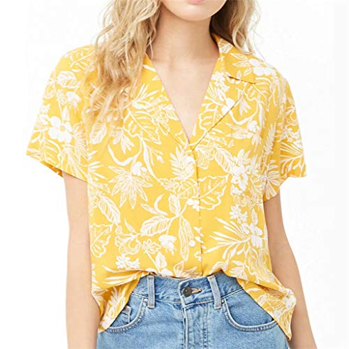 MOTOCO Damen Top Shirt/T-Shirt Kurzarm Loose Print Bluse Lässige Kleidung Tops Damen V-Ausschnitt Button-up Shirt(L(38),Gelb) Button Up Band
