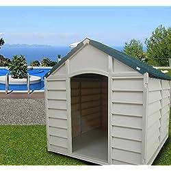 Caseta desmontable para perros de tamaño mediano-grande, fabricada en resina de PVC, tejado a 2 aguas, ideal para exteriores y jardines, color beige/verde, 78 x 84 x 80 cm