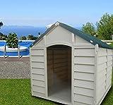 Cuccia per Cani Taglia Grande Media Cucce in Resina PVC Tetto Spiovente Per Esterno Giardino Smontabile Cm 78x84x80 Beige/Verde