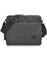 "CHEREEKI Messenger Bag, Canvas Bag Shoulder Bag Satchel Bag with 26 Pockets - 12.6""(L) x 3.9""(W) x 10.6""(H)"