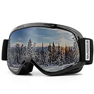 AKASO Skibrille Kinder Skibrille Snowboardbrille für Jungen Mädchen 8-16 Jahre alt mit Frame/Rahmen Anti-Fog/Nebel, 100% UV-Schutz, Helmkompatible Ski Goggles
