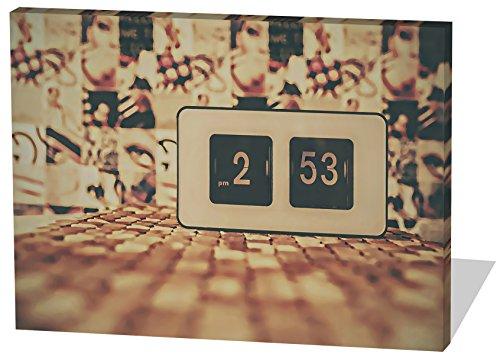Vintage Uhr, Gemälde Effekt, schönes und hochwertiges Leinwandbild zum Aufhängen in XXL - 100cm x 70cm, echter Holzrahmen, effektiver Pigmentdruck, modernes Design für Ihr Büro oder Zimmer