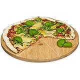 Relaxdays–Plato para pizza (bambú 33cm diámetro, tabla de cortar Madera, schnittfestes Pizza Tabla con 6-RW División para uniformemente grandes unidades, madera Plato para pizza, natural