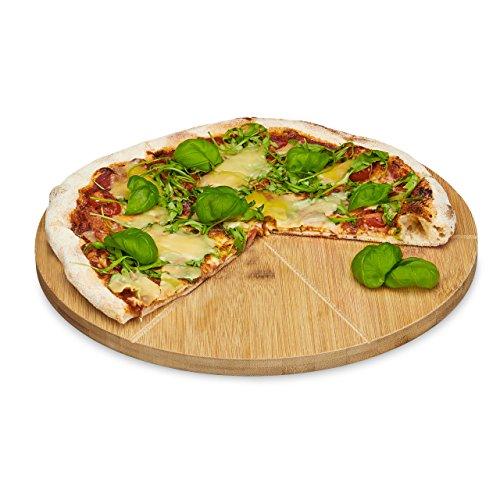 Servierplatte Runde Große, (Relaxdays Pizzateller Bambus 33 cm Durchmesser, Schneidbrett aus Holz, schnittfestes Pizzabrett mit 6-facher Einteilung für gleichmäßig große Stücke, Holzteller für Pizza, natur)