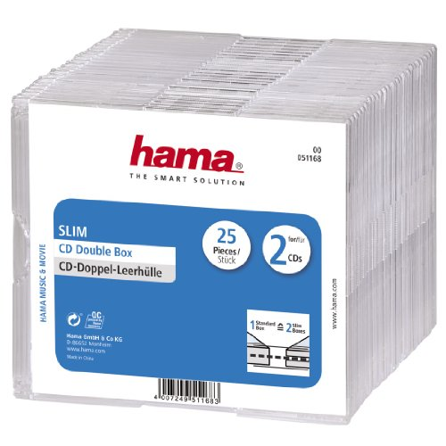 Hama CD-Doppelhüllen-Box (im Super-Slim-Design für 50 CDs/DVDs/Blu-rays) 25er-Pack, transparent