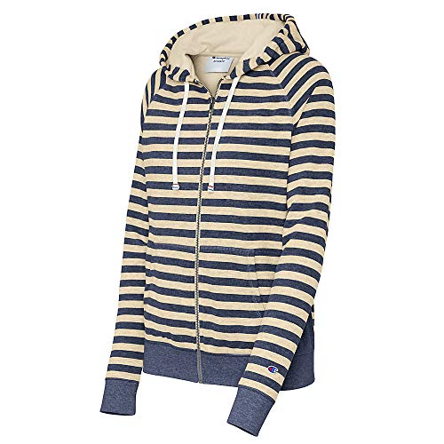 Champion Women's Heritage French Terry Full Zip Hood, Imperial Indigo Heather/Oatmeal Heather Stripe, XX-Large French Terry Full Zip Hood