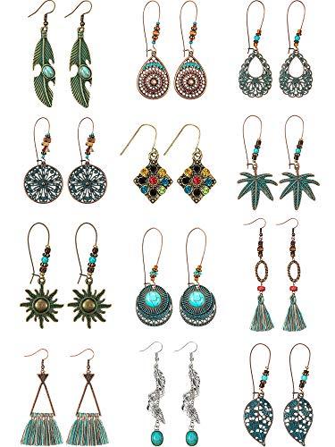 12 Pairs Vintage Boho Earrings Geometric Dangle Pendant Earrings Turquoise Earrings for Women Girls Supplies (Style C)