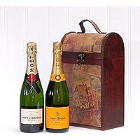 Lujoso Vintage Champagne Box con Moet et Chandon y Veuve Clicquot - Un regalo encantador para la esposa, esposo, novia, novio, feliz cumpleaños, como agradecimiento Nice