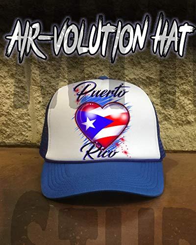 Mythic Airbrush Personalisierte Airbrushed Puerto Rico Flaggen-Herz-Hysteresen-Baseballmütze Eine Grösse passt allen Schwarzer Hut Hut Puerto Rico