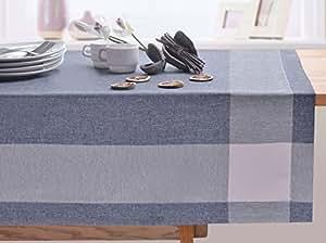 140X240 blau erika kariert Tischdecke Tischtuch elegant praktisch pflegeleicht Leinoptik Lein Optik mit Borte Modern Lein