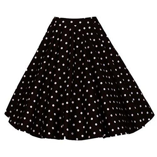 GWELL Damen Elegant 50er Jahre Retro Vintage Swing Röcke Faltenrock Knielang A-Linie Hohe Taille Rockabilly Tanzkleid Party Hochzeit Schwarze Punkte L