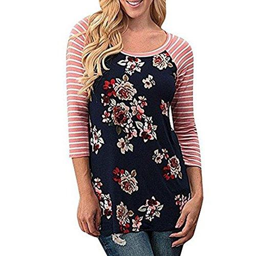OVERDOSE Damen Lässige Blumen Splice-Streifen Druck Rundhalsausschnitt Pullover Bluse Tops T-Shirt (S, B-A-A-Navy) (Sterne Navy)