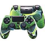 Pandaren STUDDED silicone cover skin anti-slip for PS4/ SLIM/ PRO controller x 1(camouflage green) + FPS PRO thumb grips x 8