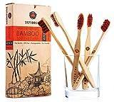 Bambus Zahnbürsten - Set mit 5 BPA-freien Borsten - biologisch abbaubar, Umwelt und Vegane Freundlichkeit mit Ergonomisches Design und Mittleren Borsten - ECO Freundliche