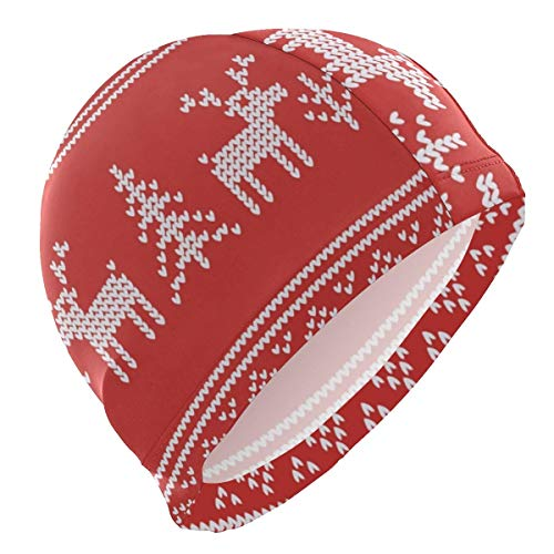 SFHJK Swim Caps Badekappe Lycra Swim Cap Ugly Knitting Xmas Print Swimming Bathing Cap for Women Men Lycra Swim Cap