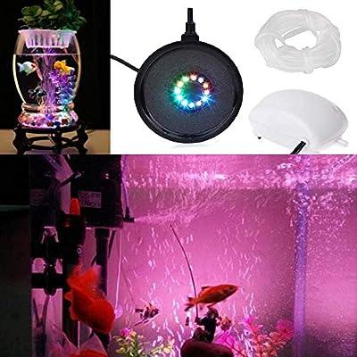 Luftpumpe,Sauerstoffstein Sprudler Air Stone,Unterwasserbeleuchtung mit 12 LED Licht Fernbedienung RGB Beleuchtung Dekoration IP68 für Fisch Tank Aquarien