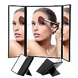 Cadeaux Fleurs Et Alimentation Best Deals - Triple Pliant Miroir, LED Miroir de beauté, Poche Miroir de Maquillage, compatible dans un coin obscur